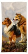Two Collies Above A Lake Beach Towel