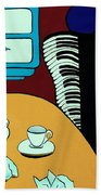 Two Cups One Accordian Beach Towel