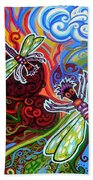 Two Dragonflies Beach Towel by Genevieve Esson
