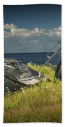 Two Forlorn Abandoned Boats On Prince Edward Island Beach Towel
