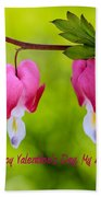 Two Hearts Valentine's Day Beach Towel