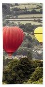 Two Hot Air Baloons Drifting Beach Towel