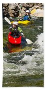Two Kayakers On A Whitewater Course Beach Towel