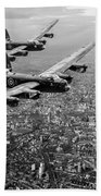 Two Lancasters Over London Black And White Version Beach Towel