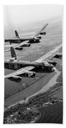 Two Lancasters Over The Upper Thames Black And White Version Beach Towel