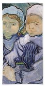 Two Little Girls Beach Towel by Vincent Van Gogh