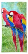 Two Macaws Beach Towel