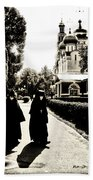 Two Nuns - Sepia - Novodevichy Convent - Russia Beach Towel