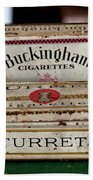 Two Old Cigarette Boxes Beach Towel