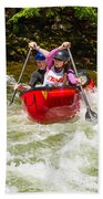 Two Paddlers In A Whitewater Canoe Making A Turn Beach Towel