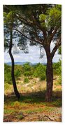 Two Pine Trees Beach Towel by Carlos Caetano