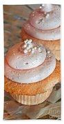 Two Pink Cupcakes Art Prints Beach Towel