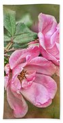 Two Pink Roses I  Blank Greeting Card Beach Towel