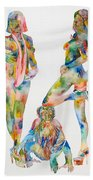 Two Psychedelic Girls With Chimp And Banana Portrait Beach Towel