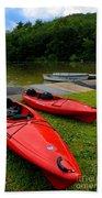 Two Red Kayaks Beach Towel