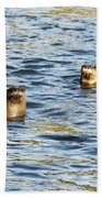 Two River Otters Beach Towel