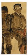 Two Seated Boys Beach Towel by Egon Schiele