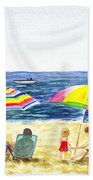 Two Umbrellas On The Beach California  Beach Towel