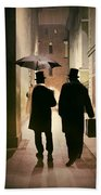 Two Victorian Men Wearing Top Hats In The Old Alley Beach Sheet