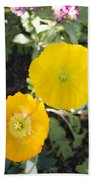 Two Yellow Flowers Beach Towel