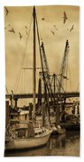 Tybee Island Shrimp Boats Beach Towel