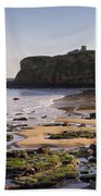 Tynemouth Priory And Castle Across King Edwards Bay Beach Towel