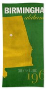 Uab University Of Alabama At Birmingham Blazers College Town State Map Poster Series No 009  Beach Towel