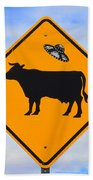 Ufo Cattle Crossing Sign In New Mexico Beach Towel
