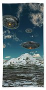 Ufos Flying Over A Mountain Range Beach Towel