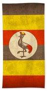Uganda Flag Vintage Distressed Finish Beach Towel