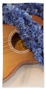 Ukulele And Blue Ribbon Lei Beach Towel