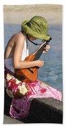 Ukulele Lady At Hanalei Bay Beach Towel