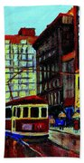 Umbrellas In The Rain Couples Stroll St.catherine Street Downtown Montreal Vintage  City Scene  Beach Towel