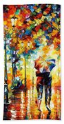 Under One Umbrella - Palette Knife Figures Oil Painting On Canvas By Leonid Afremov Beach Towel