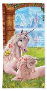 Unicorn Mother And Foal Beach Towel