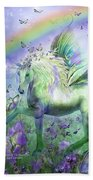 Unicorn Of The Butterflies Beach Towel by Carol Cavalaris