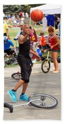 Unicyclist - Basketball - Street Rules  Beach Towel