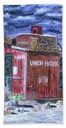 Union Pacific Train Car Painting Beach Sheet