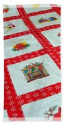 Unique Quilt With Christmas Season Images Beach Towel