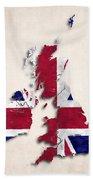 United Kingdom Map Art With Flag Design Beach Towel