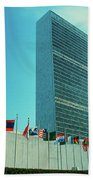 United Nations Building With Flags Beach Towel