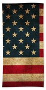 United States American Usa Flag Vintage Distressed Finish On Worn Canvas Beach Towel by Design Turnpike