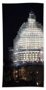 United States Capitol Dome Scaffolding At Night Beach Towel