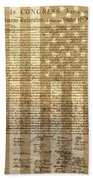 United States Declaration Of Independence Beach Towel by Dan Sproul