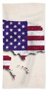United States Map Art With Flag Design Beach Towel