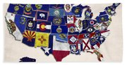 United States Map With Fifty States Beach Towel