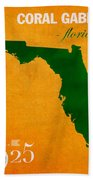 University Of Miami Hurricanes Coral Gables College Town Florida State Map Poster Series No 002 Beach Towel