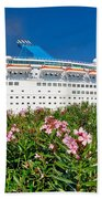 Unnamed Cruiser Docked On Waterfront Beach Towel