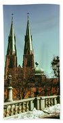 Uppsala Cathedral Steeples Beach Towel