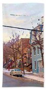 Urban Winter Landscape Colors Of Quebec Cold Day Pointe St Charles Street Scene Montreal  Beach Towel